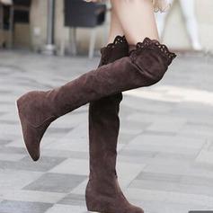 Frauen Wildleder Keil Absatz Plateauschuh Stiefel über Knie mit Geraffte Schuhe (088097320)