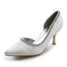 Vrouwen Satijn Spool Hak Closed Toe Pumps met Bergkristal (047011865)