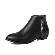 Frauen Kunstleder Flascher Absatz Stiefelette mit Reißverschluss Schuhe (088074429)