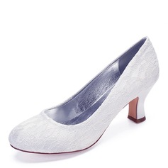 Women's Lace Chunky Heel Closed Toe With Stitching Lace (047201410)
