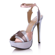 Naisten Keinonahasta Piikkikorko Sandaalit Platform Peep toe Kantiohihnakengät jossa Solki Split yhteinen kengät (087029170)