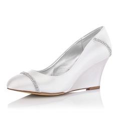 Femmes Satiné Talon compensé Bout fermé Escarpins Chaussures qu'on peut teindre avec Strass (047092829)