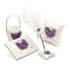 Lila Rosa Corazón Diseñado Satén Set de colección (100040242)