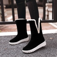 Frauen Veloursleder Keil Absatz Stiefel Stiefel-Wadenlang mit Bowknot Pelz Schuhe (088137105)