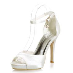 Frauen Satin Stöckel Absatz Peep-Toe Plateauschuh Sandalen mit Schnalle Nachahmungen von Perlen (047068267)