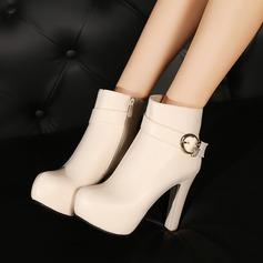 Frauen Kunstleder Stämmiger Absatz Absatzschuhe Plateauschuh Stiefel Stiefelette mit Strass Schnalle Reißverschluss Schuhe (088125609)