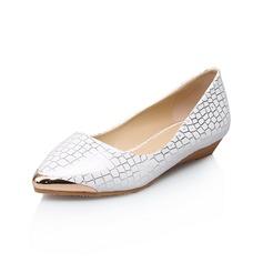 Lær Flat Hæl Flate sko Lukket Tå sko (086052442)