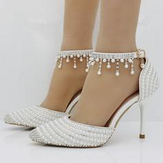Frauen Kunstleder Stöckel Absatz Geschlossene Zehe Absatzschuhe mit Nachahmungen von Perlen Strass (047149252)