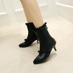 Frauen PU Stöckel Absatz Absatzschuhe Stiefel-Wadenlang mit Geraffte Reißverschluss Schuhe (088145079)