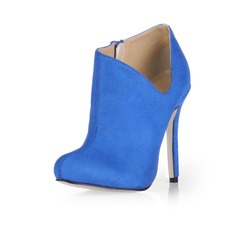 Suede Stiletto Heel Closed Toe Pumps Ankle Boots (088020541)