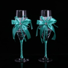 Simple Design/Classic Toasting Flutes With Ribbon Bow (126199814)