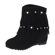 Frauen Veloursleder Niederiger Absatz Geschlossene Zehe Stiefel Stiefelette Stiefel-Wadenlang mit Quaste Schuhe (088170962)