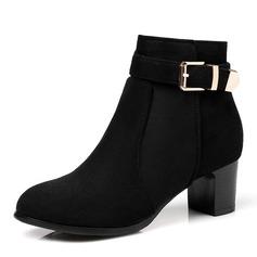Frauen Veloursleder Stämmiger Absatz Absatzschuhe Stiefel Stiefelette mit Schnalle Reißverschluss Schuhe (088147460)