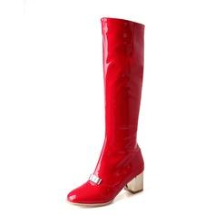 Frauen Lackleder Stämmiger Absatz Kniehocher Stiefel Schuhe (088074438)