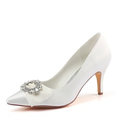 Women's Silk Like Satin Stiletto Heel Pumps With Crystal (047190305)