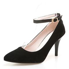 Donna Camoscio Tacco a spillo Sandalo Stiletto Punta chiusa con Fibbia scarpe (085168415)
