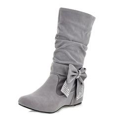 Frauen Kunstleder Flascher Absatz Flache Schuhe Geschlossene Zehe Stiefel Stiefel-Wadenlang Schuhe (088100730)