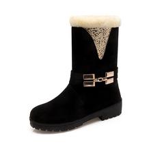 Frauen Wildleder Niederiger Absatz Stiefelette mit Pelz Schuhe (088097422)