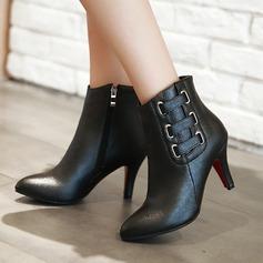 Frauen PU Stöckel Absatz Absatzschuhe Stiefel mit Reißverschluss Andere Schuhe (088137541)
