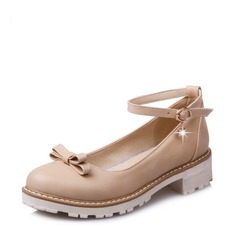 Women's Leatherette Chunky Heel Flats Closed Toe With Rhinestone Bowknot shoes (086117657)