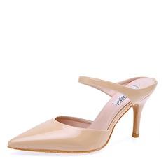 Donna Pelle verniciata Tacco a spillo Sandalo Stiletto Punta chiusa scarpe (085172792)