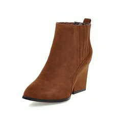 Frauen Wildleder Stämmiger Absatz Stiefelette mit Reißverschluss Schuhe (088097360)