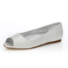Frauen Satin Flascher Absatz Peep Toe Färbbare Schuhe (047088653)