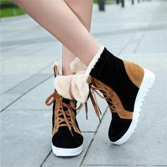 Frauen Veloursleder Niederiger Absatz Flache Schuhe Geschlossene Zehe mit Zuschnüren Schuhe (088145929)