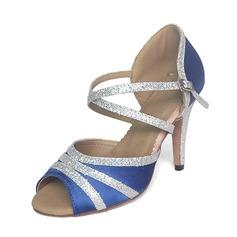 Kvinnor Satäng Glittrande Glitter Klackar Sandaler Latin Dansskor (053020313)