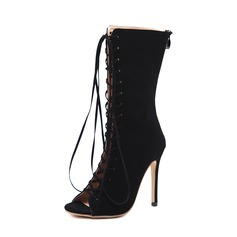 Frauen Veloursleder Stöckel Absatz Absatzschuhe Stiefel Peep Toe Stiefel-Wadenlang mit Zuschnüren Schuhe (088151849)