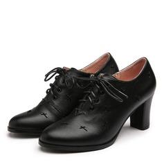 De mujer PU Tacón ancho Cerrados con Cordones zapatos (085191405)