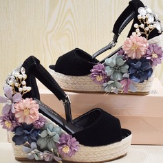 Vrouwen Suede Wedge Heel Sandalen Pumps Plateau Wedges Peep Toe met Strass Kristal Imitatie Parel Bloem schoenen (087122310)