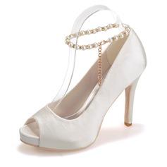 Frauen Satin Stöckel Absatz Peep Toe Plateauschuh Sandalen mit Nachahmungen von Perlen (047066878)