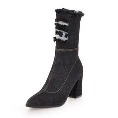 Frauen Baumwollstoff Stämmiger Absatz Stiefel Stiefel-Wadenlang mit Reißverschluss Schuhe (088172656)