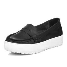 Echtleder Flascher Absatz Flache Schuhe Geschlossene Zehe Schuhe (086060045)