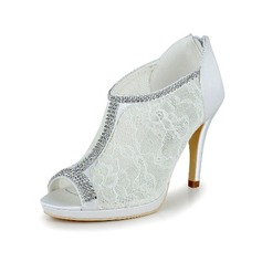 Women's Lace Satin Stiletto Heel Boots Peep Toe Pumps With Rhinestone (047039126)