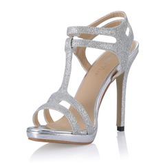 Frauen Funkelnde Glitzer Stöckel Absatz Sandalen Absatzschuhe mit Schnalle Schuhe (087054107)