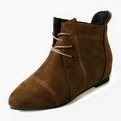 Frauen Veloursleder Flascher Absatz Stiefel Stiefelette mit Zuschnüren Schuhe (088146308)