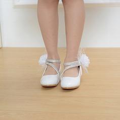 Mädchens Round Toe Geschlossene Zehe Leder niedrige Ferse Blumenmädchen Schuhe mit Satin Schleife Klettverschluss Zuschnüren (207113587)