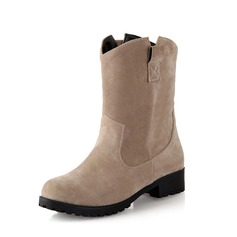 Frauen Wildleder Stämmiger Absatz Stiefelette Schuhe (088076596)