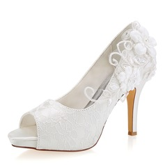 Women's Lace Silk Like Satin Stiletto Heel Peep Toe With Stitching Lace Flower (047190298)