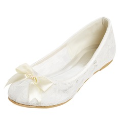 Women's Lace Flat Heel Closed Toe Flats With Bowknot (047052679)