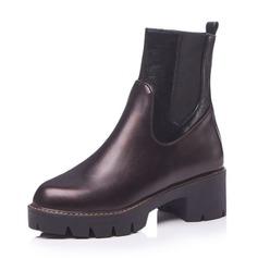 Frauen Kunstleder Stämmiger Absatz Plateauschuh Stiefel mit Zweiteiliger Stoff Schuhe (088172969)