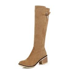 Frauen Wildleder Stämmiger Absatz Stiefel Kniehocher Stiefel mit Schnalle Reißverschluss Schuhe (088109565)
