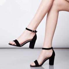 Donna Camoscio Tacco spesso Sandalo Stiletto Punta aperta con Fibbia scarpe (087118794)