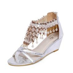Keinonahasta Wedge heel Sandaalit jossa Tekojalokivi kengät (087063139)