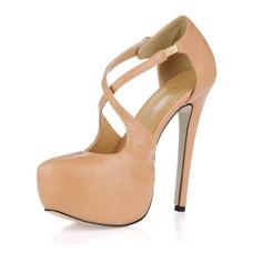 Similpelle Tacco a spillo Stiletto Piattaforma Punta chiusa scarpe (085017468)