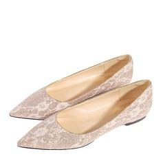 Frauen Microfaser-Leder Flascher Absatz Geschlossene Zehe Flache Schuhe mit Stich Spitzen (047190330)