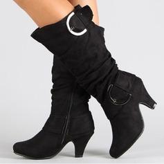 Donna Camoscio Tacco a spillo Punta chiusa Stivali Stivali al ginocchio con Fibbia scarpe (088187305)