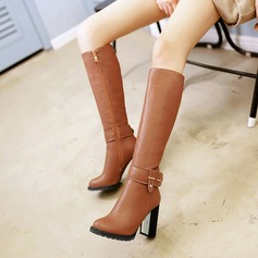 Frauen Kunstleder Stämmiger Absatz Stiefel Kniehocher Stiefel mit Niete Schnalle Reißverschluss Schuhe (088125612)